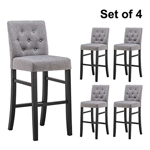 YEEFY 30' Button-Tufted Fabric Barstools Dining High Bar Height Side Chairs, Set of 4 (Gray)