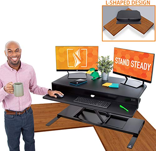 "Flexpro Power 40 Inch Electric Corner Desk | 2 Level Standing Desk Converter with Quiet Height Adjustments | Large Dual Level Sit to Stand Workspace | Great for Cubicles! (Corner / 40"")"