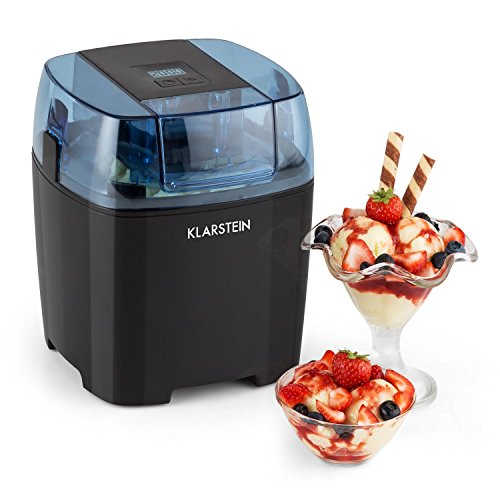 Klarstein Creamberry - ijsmachine, ijsmachine, 4-in-1 ijsmachine, bereiding in 20 minuten, 1,5 liter inhoud, thermische container, energiebesparend, zwart