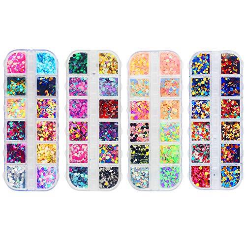 48 kleuren nagel pailletten ultradunne kleurrijke ronde holografische nagel glitter kunst iriserende zeemeermin vlokken manicure nagel kunst benodigdheden gezichtshaar lichaam diy decoraties (4 dozen)