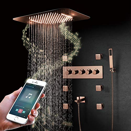 Angel&H Sistema de Ducha Empotrado En El Techo del Baño Sistema de Ducha de Lluvia LED de Música con Juego de Chorros de Cuerpo de 6 Piezas (Oro Rosa)