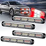 LED Emergency Strobe Light XTAUTO 24-LED Red White Red Ultra-Thin Surface Mount Flashing Warning Beacon Hazard Construction Caution Light Bar for Off Road Firefighter Vehicles Trucks SUV ATV 4-Pack