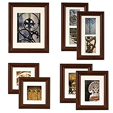 Gallery Perfect 7 Piece Walnut Wood Photo Frame Wall Gallery Kit. Includes: Frames, Hanging Wall Template, Decorative Art Prints and Hanging Hardware