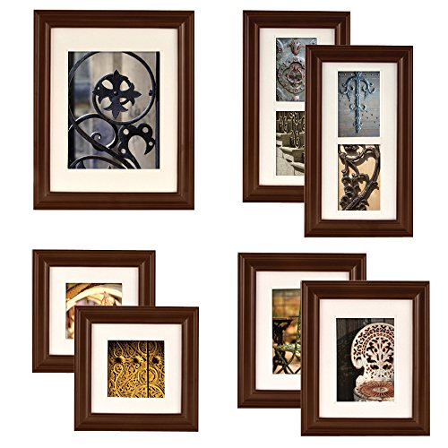Gallery Perfect 7 Piece Walnut Wood Photo Frame Wall Gallery Kit, Walnut
