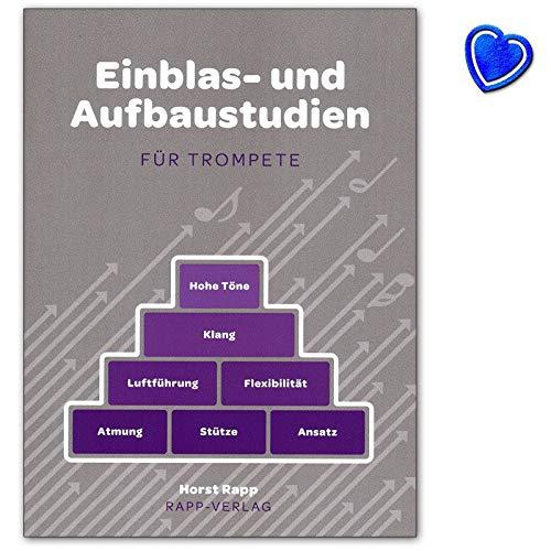 Einblas- und Aufbaustudien für Trompete - ein tägliches Übeprogramm von Horst Rapp mit bunter herzförmiger Notenklammer - Rapp Verlag - 9990050803328