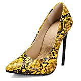 Lydee Mujer Moda Pumps Stiletto Heels Zapatos Slip on Pointed Toe Party Dress Zapatos Animal Print Snake Yellow Size 34 Asian