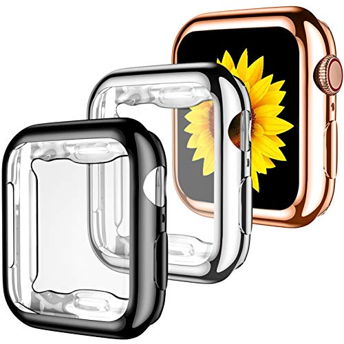 GEAK for Apple Watch Case 44mm Series 6 Series 5 with Screen Protector, 3 Pack Soft TPU Ultra-Thin Cover All-Around Protective Case for iWatch SE Series 4 44mm Black/Silver/Rose Gold