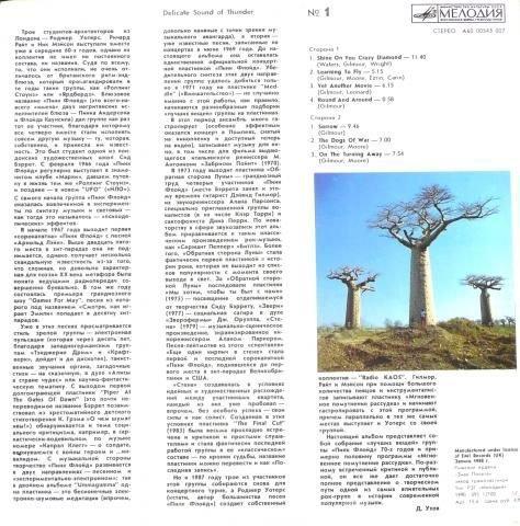 DELICATE SOUND OF THUNDER VINYL LP 1988 PINK FLOYD - 2