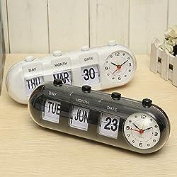 Manual Flip Digital Quartz Alarm Clock Day Date Calendar Time Display (White)