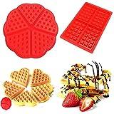 Molde de silicona para hornear gofres, bizcochos o tartas de chocolate, molde de repostería antiadherente, juego de 2