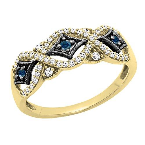 Dazzlingrock Collection Alianza de boda de 0,33 quilates chapada en rodio negro de oro de 10 quilates con diamante blanco y azul redondo para mujer de 1/3 quilates