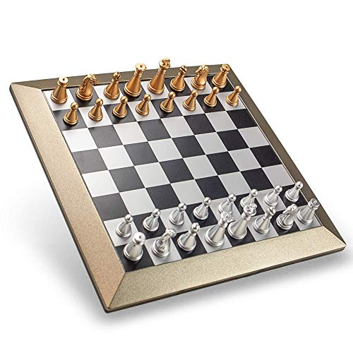 STERLING Games Magnetic Travel Chess Set 6.25in Metallic Finish Chess Board Lightweight and Portable with Carrying Case