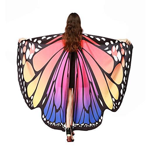Lemooner Damen Schmetterlingsflügel Schal Frauen Nymph Pixie Poncho Kostümzubehör Schmetterling Kostüm Faschingkostüme Flügel Schal Erwachsene Poncho Umhang für Party Cosplay Karneval