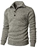 H2H Men's Slim Fit Turtleneck Basic Knit Sweater with Buttons Oatmeal US S/Asia M (CMTTL091) by