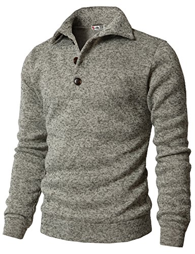 H2H Men's Slim Fit Turtleneck Basic Knit Sweater with Buttons Oatmeal US S/Asia M (CMTTL091)
