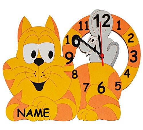 alles-meine.de GmbH Wanduhr - lautlos -  Katze mit Maus  incl. Namen - Uhr aus Holz - 37 cm groß - lautlos + ohne Ticken - für Jungen Mädchen Kinder / Kinderzimmer Kinderuhr - ..