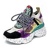 Zapatillas de Deporte Chunky de Las Mujeres Zapatillas de Deporte Casuales del Color Mezclado al Aire Libre de la Primavera de Las señoras Zapatillas de Deporte de Las cuñas Respirables
