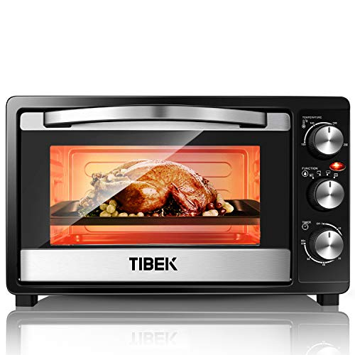 TIBEK Mini Oven 23L Electric Grill with Temperature Setting 100-230? and 60 Mins Timer, 1500W Double Glazed Door Toaster Oven, 3 Baking Functions,Easy to Clean