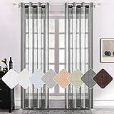 MIULEE 2 paneles de lino natural semitransparente para ventana, elegantes cortinas de color gris oscuro con ojales en la parte superior de la ventana, paneles de gasa con textura de lino para...