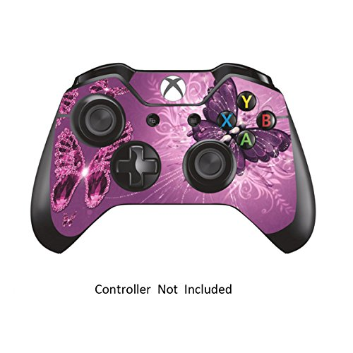 Skins Stickers for Xbox One Games Controller - Custom Orginal Xbox 1 Remote Controller Wired Wireless Protective Decals Covers - High Gloss Protector Accessories - Lavender Butterfie