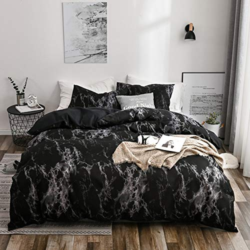 Loussiesd Schwarz Marmor Bettbezug Set, 155x220cm Bettwäsche mit Reißverschluss and Tie,Super Weiche Atmungsaktive Mikrofaser Bettwäsche Set mit Kissenbezug