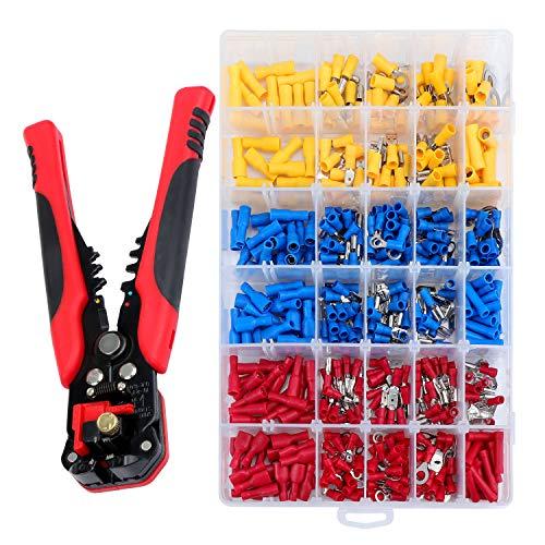 HSEAMALL Abisolierzange Automatisch ,3-in-1 kabel abisolierwerkzeug crimpzange set,Klemmzange und Drahtschneider mit 500 PSC isolierten Steckern