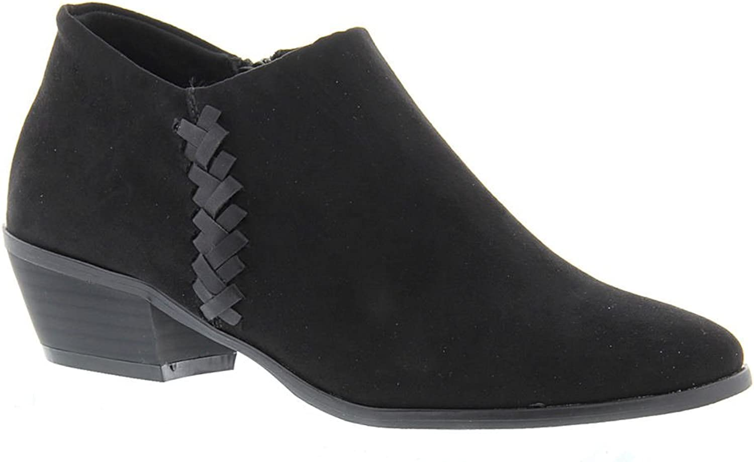 Madeline Womens Trefoil Suede Almond Toe Ankle Fashion Boots