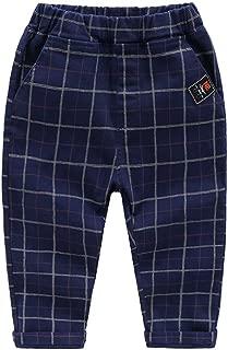 HUAER& Baby Boys Plaid Skinny Uniform Chino Pants