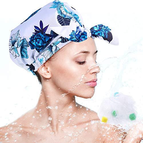 Bonnet de Douche Réutilisable Bonnet de Douche Imperméable Bonnet de Bain Noeud Papillon Femme avec Éponges de Bain en Mailles(Floral)