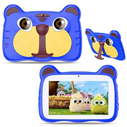 Kids Tablet, Android 10.0 Tablet for Kids, 7 inch 1024x600 HD IPS Eye Protection Screen, 1GB RAM+16GB ROM, with WiFi, Bluetooth, Dual Camera & Parental Control, Best Gift for Boys and Girls (Blue)