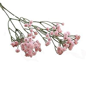 Silk Flower Arrangements VEFSU Wedding Bouquets Artificial Silk Fake Flowers Baby's Breath Floral Hand Bouquet Party Decors (Pink)