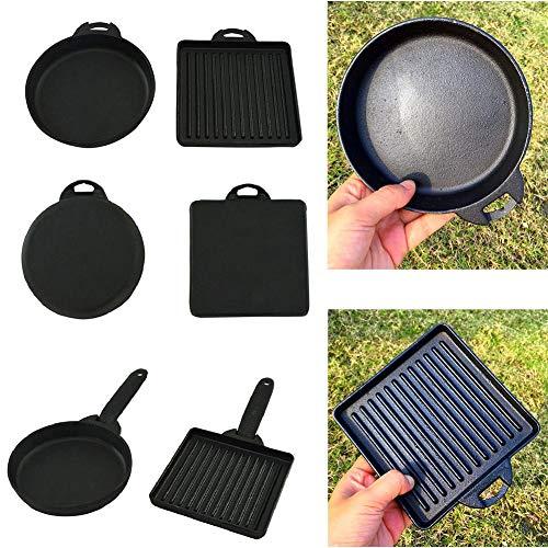 SunniY Runde Bratpfanne, quadratische Bratpfanne Kit Mini Bratpfanne Antihaft-Gusseisen Backformen Grill-Tools für Outdoor Camping, schwarz.
