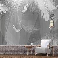 写真の壁紙モダンな黒と白のグレー3D幾何学的な白い羽の壁画リビングルームテレビソファベッドルーム家の装飾壁紙, 200cm×140cm