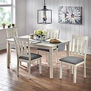 Simple Living Olin Barn Wood Dining Set Antique White 4 5-Piece Sets