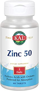 Kal 50 Mg Zinc Tablets, 60 Count