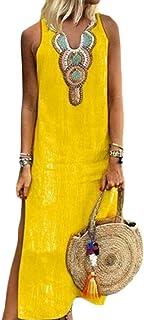 FSSE Women Split Sundress Ethnic Style Print Sleeveless Beach Party Maxi Dress