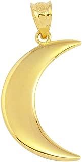 High Polish 14k Yellow Gold Crescent Moon Charm Pendant