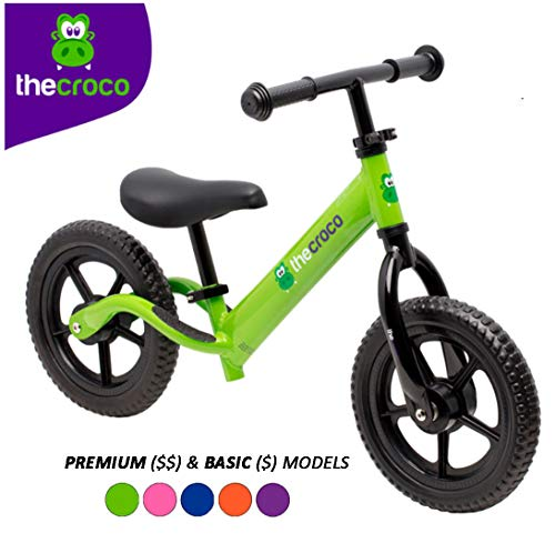 TheCroco Lightweight Balance Bike Premium for Toddlers and Kids (Green)