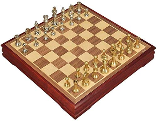 LINWEI Schach-Set Brettspiel für Kinder Erwachsene Entwürfe Schach mit Bord, handgefertigte Internationale Tschschesse, Faltspeicher-Retro-Set, klassisches Familienspiel Perfect Wood Ches A0-290B