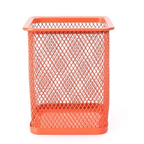Beautylady Mesh Wire Pencil Cup Holder Square Organizer Container for Home Office, Orange