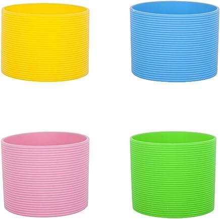Preisvergleich für BESTONZON 4 stücke einfarbig silikon hitzebeständige schale schutzhülle rutschfeste wasserglas abdeckung für flasche becher (grün + hellblau + rosa + gelb)