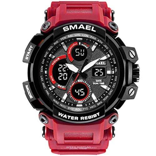 AYDQC Uhren for Männer Großen Gesichts-Digital-Analog-Armbanduhr Kalender 12 / 24H LED-Hintergrundbeleuchtung Stoppuhr-Sport-Uhr-Quarz-Armbanduhr fengong (Color : D)