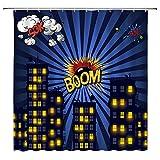 MNSC Superhero Shower Curtain Buildings Cityscape City Landscape Yellow Boom Cartoon Speech Bubbles Skyline Night Scene Kids Children Baby Decor Fabric Bathroom Curtain 71x71IN with Hooks,Blue