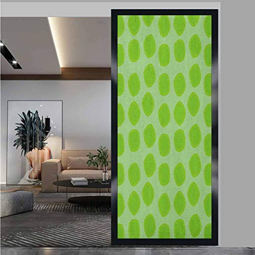 W 23.6' x L 78.7' Frosted Privacy Window Window Stickers for Home Office,Lime Green,Simplistic Formless Geometric Shapes in Different Shades Kids Nursery Theme,Almond Green