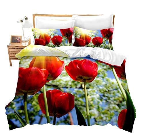 Xikmad Juego de ropa de cama Red Rose, 135 x 200 cm, 3D, diseño de flores románticas, con cremallera oculta y 2 fundas de almohada (135 x 200 cm)
