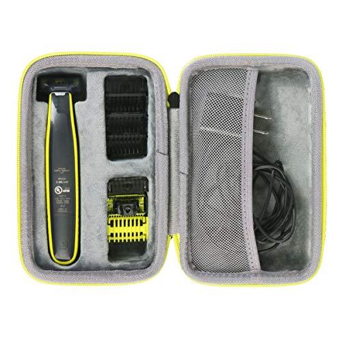 co2crea Hard Travel Case for Philips Norelco OneBlade QP2520/90 / QP2630/70 / QP2520/72 Face Body hybrid electric trimmer shaver (Black Case + Green Zipper)