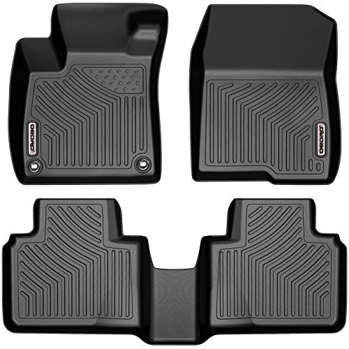 OEDRO Floor Mats Compatible with 2018-2021 Honda Accord, Black TPE Front & 2nd Row All Weather Liner Set - Custom Fit