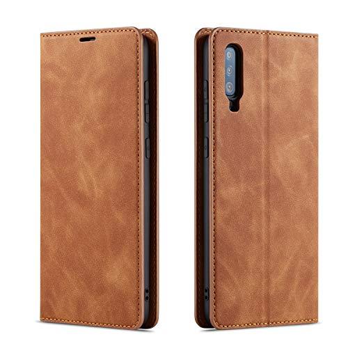 QLTYPRI Hülle für Samsung Galaxy A70, Premium Dünne Ledertasche Handyhülle mit Kartenfach Ständer Flip Schutzhülle Kompatibel mit Samsung Galaxy A70 - Braun