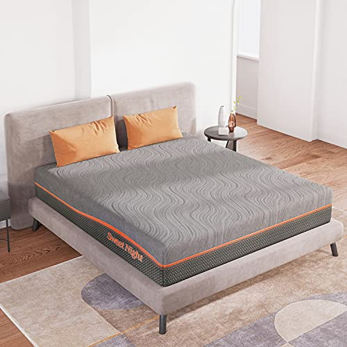 King Size Mattress, Sweetnight 10 inch Gel Memory Foam Mattress with Three Firmness Levels from Soft to Firm, Gel Infused for Cool Sleep and Spinal Support, Flippable King Mattress in a Box, Whisper