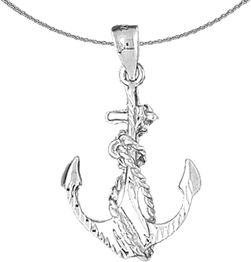 Store Jewels Bombing new work Obsession Silver Anchor Necklace Rhodium-plat Rope With